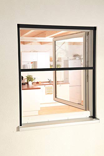 HT Fliegengitter Insekten-Schutz Alu-Fenster-Rollo Bausatz 80 x 160 cm in anthrazit
