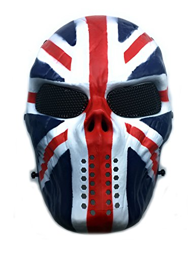 CS Schutzmaske Halloween Airsoft Paintball Full Face Skull Skeleton Maske (Unions Flagge) (Maske Halloween)