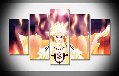Mcanvas 5pcs Art Anime Namikaze Minato Naruto Naruto Lienzo Impresión Pared Arte Pintura para Hogar Decoración Moderna, Medium