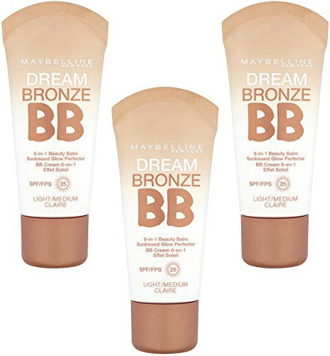 3 x Maybelline Dream Bronze BB 8 in 1 Beauty Balm SPF25 30ml - Light/Medium - Bronze Medium Light