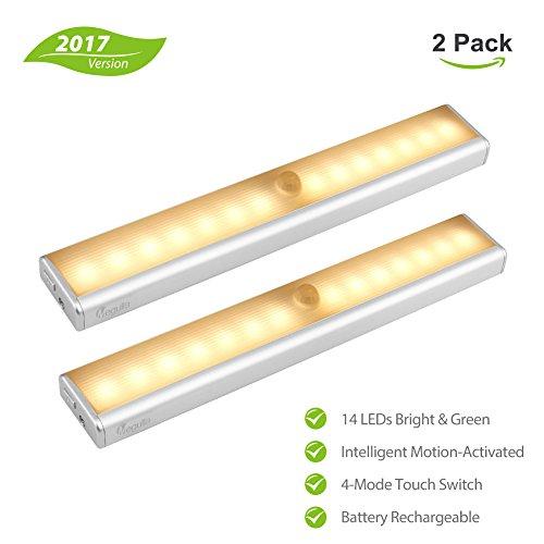 megulla® 14-led wiederaufladbar batteriebetrieben Indoor Wireless LED Motion Sensor Licht für unter Schrank, Schrank, Speisekammer, Treppe, Flur, Schrank, attic-warm, weiß, 2Stück (Motion-sensing-licht-schalter)