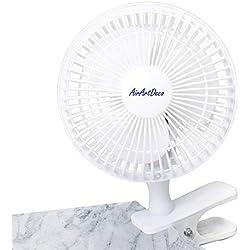 AirArtDeco Mini Ventilateur à Clip 15 cm de Diamètre   2 Vitesses   Fonctionnement Silencieux   Ventilateur de Refroidissement Portatif I Ventilateur Portable Pour la Maison ou le Bureau   Blanc