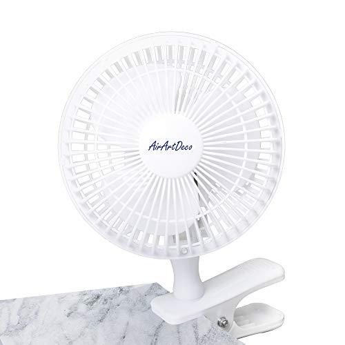 AAirArtDeco Mini Ventilateur à Clip 15 cm de diamètre | 2 vitesses | fonctionnement silencieux | ventilateur de refroidissement portatif I Ventilateur portable pour la maison ou le bureau