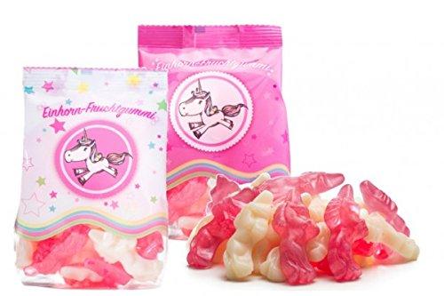Unicorno frutta gomma set, frutta gomma a forma di unicorno in sacchetto di a tema. Lampone, Vanigli