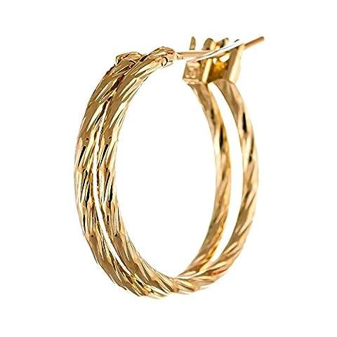 ISADY - Clarinda 20 Gold - Boucles d'oreille - Créoles - 20 mm de diamètre - Plaqué Or 750/000 (18 carats)