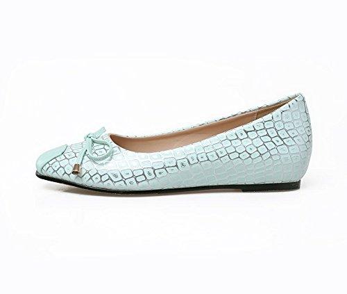 BalaMasa da donna, in pelle, punta arrotondata, pompe Imitated-Shoes LightBlue