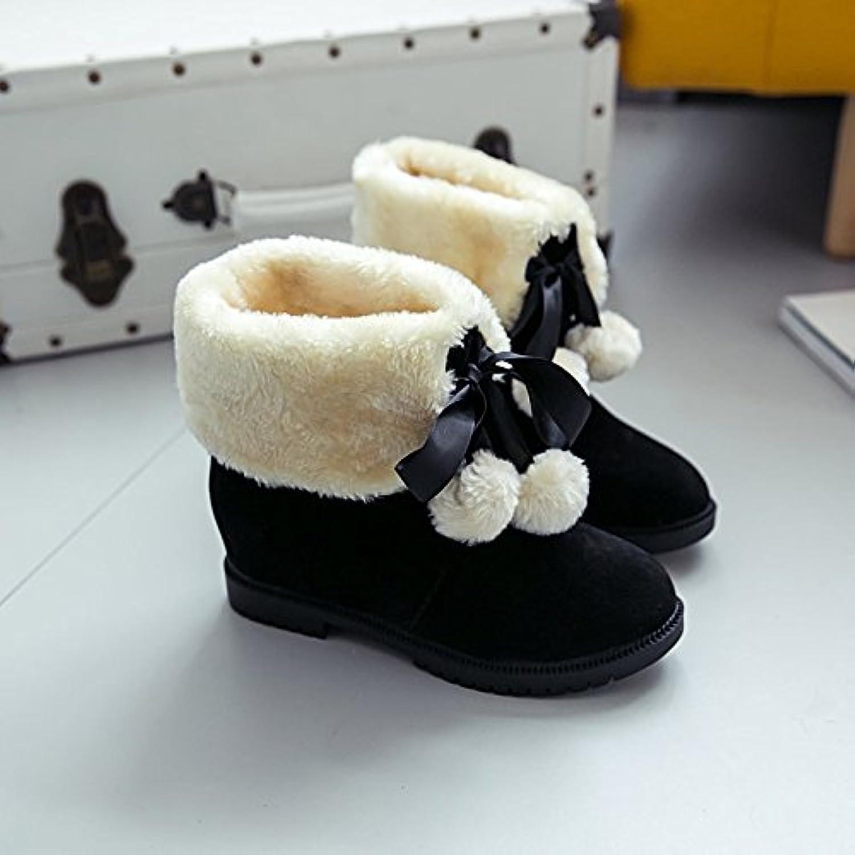 Botas de nieve para otoño e invierno Zapatos Botas bajas con barril corto Botas elevadas, Negro, 39 EU