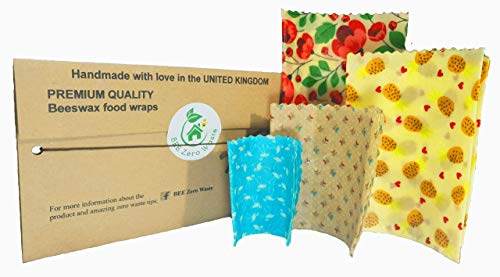 Beeswax Food Wraps, BEE Zero Waste, UK HANDMADE, SET OF 4 Random Colours, Natural alternative to cling film, Biodegradable, plastic free food wrap, sandwich bags, sustainable eco-friendly food storage