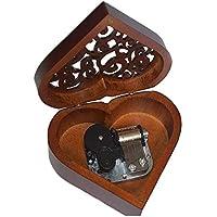 DierCosy La Caja de música del corazón Mecanismo de Madera Caja de la joyería Caja de música de manivela Boda mecánicos Musicales Juguetes (Movimiento Negro)
