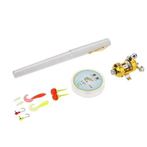 Docooler 1M Mini Tragbar Pocket Aluminiumlegierung Angelrute Stift Form Fisch Reel Drum Polrad Line weiche Köder Jig Haken Float Tackle Fischen