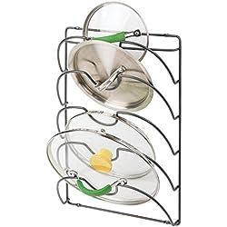 mDesign porte couvercle vertical en métal avec 5 compartiments - support ustensiles cuisine pratique pour couvercles de casserole et poêle - accessoire rangement de cuisine maniable en métal - gris