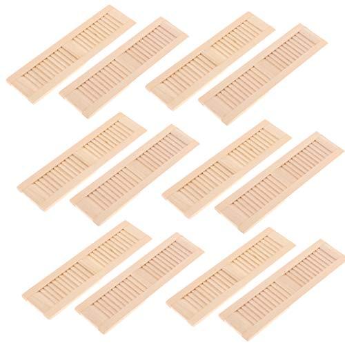 Baoblaze 12 Stück 1/12 Puppenhausmöbel Miniatur Fensterläden Fenster aus Holz - 11,5 * 3,2 cm
