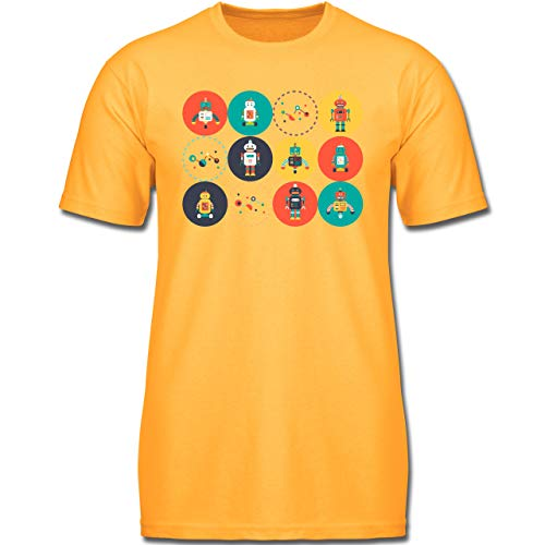 Up to Date Kind - Roboter Design - 140 (9-11 Jahre) - Gelb - F130K - Jungen Kinder T-Shirt -
