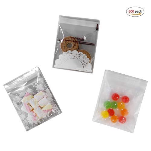 HONGXIN-SHOP Selbstklebend Süßigkeiten Tasche OPP Geschenktüten Süßigkeit Keks Taschen für Kekse Kuchen Schokolade Süßigkeiten Snacks 300 Stücke
