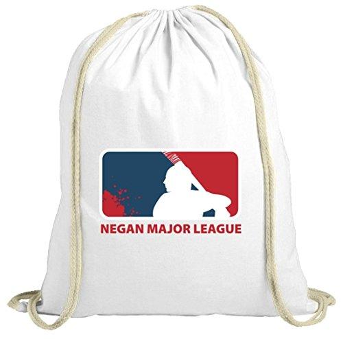 Zombie Serie natur Turnbeutel mit Negan Major League Motiv von ShirtStreet weiß natur
