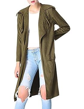 Le Donne Eleganti Oversize Colletto Aperto Davanti Pur Lungo Impermeabile Outwear Camoscio
