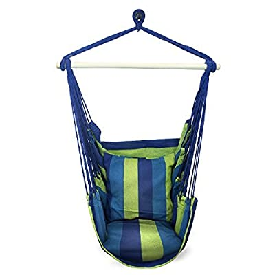 Sorbus Blue Hanging Rope Hammock Chair Swing Seat for Any Indoor or Outdoor Spaces- Max. 265 Lbs -2 Seat Cushions Included - inexpensive UK light shop.
