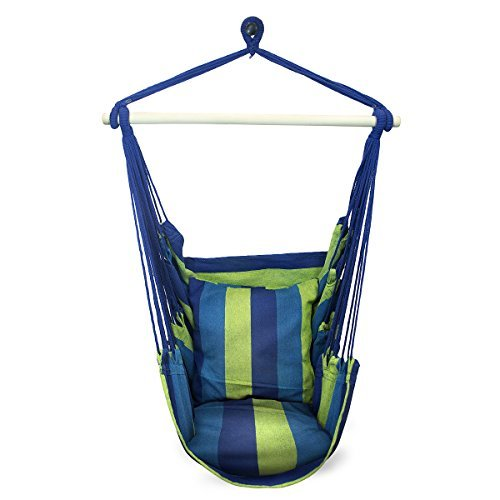 SorbusÃ'® Blue Hanging Rope Hammock Chair Swing Seat for Any Indoor or Outdoor Spaces- Max. 265 Lbs -2 Seat Cushions Included by SorbusÃ'®