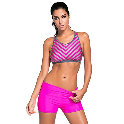 ZQA&N Frauen Bikini_konservative Streifen Bewegung big size swimsuit L
