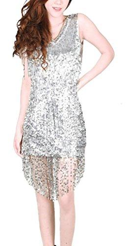 Brinny Damen 1920S 20er Paisley Art Deco Pailletten Quasten Partei Gatsby Kleid mit Quaste Halskette Silber