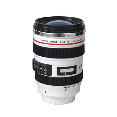Contever® Kamera Tasse Objektiv Becher / Camera Lens Coffee Mug Cup für Kaffee, Tee, Milch, Wasser - 400ML---Weiß