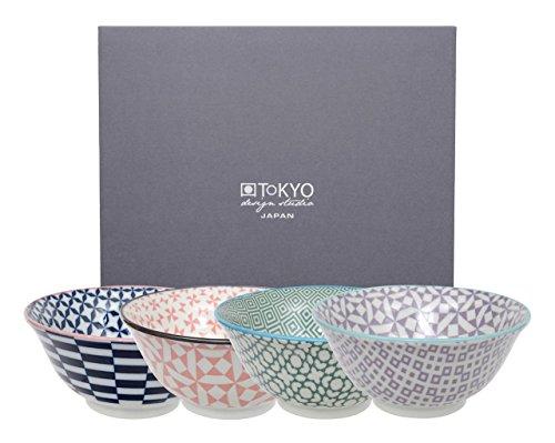 Tokyo Design Studio, Bol en porcelaine motif Geometric Eclectic - Coffret de 4, Diamètre: 15.0cm