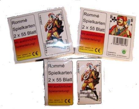 Preisvergleich Produktbild 4 x Romme-Spielkarten Rommespiel je 55 Blatt