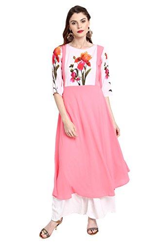 Janasya Women's A-Line Kurta (JNE2199-KR-411-A_Pink_Xl)