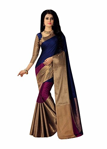 Indian Beauty Women's Cotton Silk Saree With Blouse Piece(Blue ,Free Size)