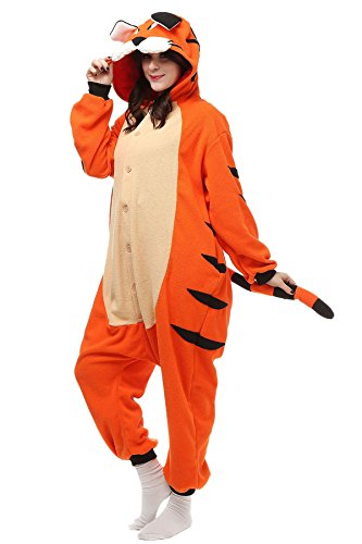 Aivtalk Jumpsuit Tier Cartoon Onesie Fasching Halloween Kostüm Sleepsuit Schlafanzug Cosplay Fleece-Overall Pyjama Erwachsene Unisex Kigurumi Tieroutfit Tierkostüme - Orange (Halloween Tiger Kostüm Für)