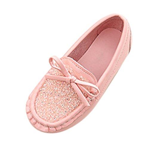 Brinny Baby Mädchen Prinzessin Ballerinas Erbsenschuhe Rhinestones Bowknot Anti-slip Flach Schuhe Leder Mary Jane Halbschuhe Größe: 21-36 Pink
