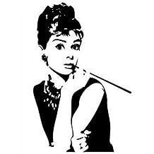 Wandtattoo Wandaufkleber Wandsticker Wanddeko Audrey Hepburn Wohnzimmer PVC