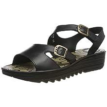Fly London Women's ENAT028FLY Open Toe Sandals, Black (Black 000), 6 UK 39 EU