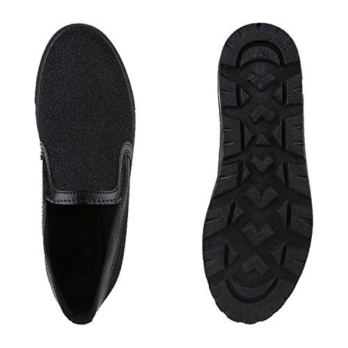 Damen Slip-ons Glitzer Plateau Slipper Metallic Trend Schuhe | Gr. 36-41 | Aktuelle Kollektion Schwarz Lack