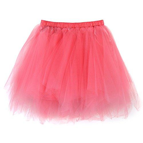 KPILP Tüllrock Damen 50er Rockabilly Petticoat Spitze Organza Unterrock Ballett Tütü Qualität Taille Erwachsenen(Wassermelone,EU32-54/CN-M)