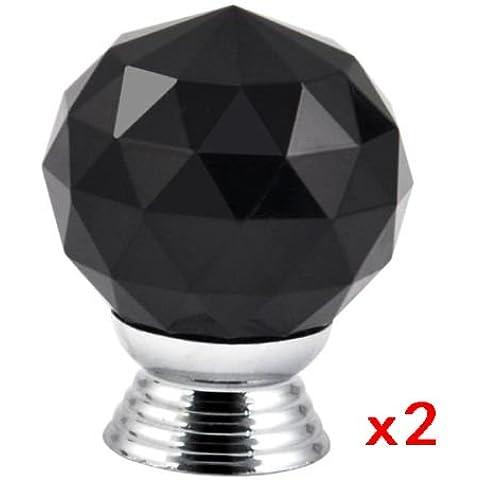 SODIAL(R) Mango 2pcs Crystal Glass Tiradores de cajones Gabinete Muebles Cocina - negro