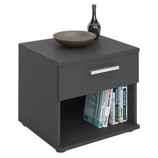 IDIMEX Table de Chevet MAEL, Table de Nuit casier avec 1 tiroir et 1 Niche, en mélaminé Gris Mat