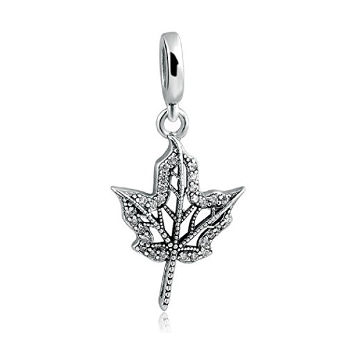 featherwish 925Sterling Silber Blatt Anhänger baumeln Charme mit Zirkonia für Pandora Armband -