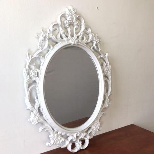 Antik-Stil Barock 84x57cm Hängespiegel Flurspiegel Weiß (Rosa Und Weißen Verzierungen)
