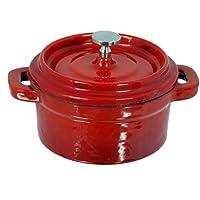 Buckingham - Casseruola piccola rotonda in ghisa malleabile, con coperchio e pomello in acciaio INOX, colore rosso