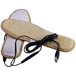 Plantillas de calefacción eléctrica Plantillas de piel de felpa suave Invierno Mantener los pies calientes Zapatos Plantillas para hombres Mujeres - Caqui 40-41