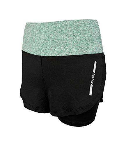 La Dearchuu Damen Laufen Shorts Hohe Taille Sport Shorts 2 in 1 Schlank Sport Kurze Hose Training Yoga Gym Fitness Hose kurz Outdoor Short Schnell Trocknend (Grün,L-EU 38) -