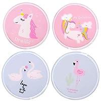 Amycute 4 Pcs Kids Cartoon Style Round Foldable Handheld Fan, Unicorn And Flamingo Pattern Portable Cloth Handheld Folding Fans