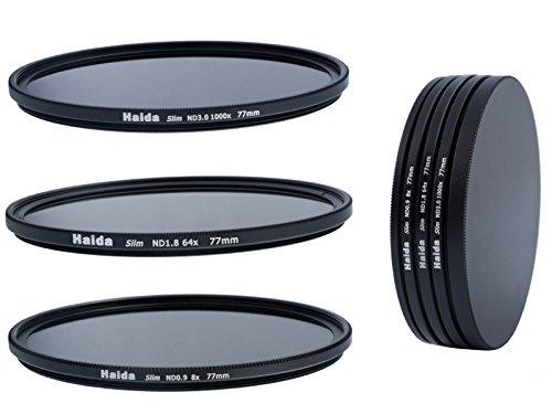 HAIDA Slim Neutral Graufilter Set 77mm bestehend aus ND8, ND64, ND1000 Filtern 77mm inkl. Stack Cap Filtercontainer + Pro Lens Cap mit Innengriff