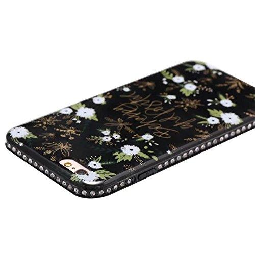 EKINHUI Case Cover Blumen-bedrucktes Muster Weiche schwarze TPU Gel-Shell-Stoßfänger-Abdeckung [Schock-Absorbtion] Glänzender Bling-Funkeln-Rhinestone-rückseitige Abdeckungs-Fall für iPhone 6 u. 6s (  C