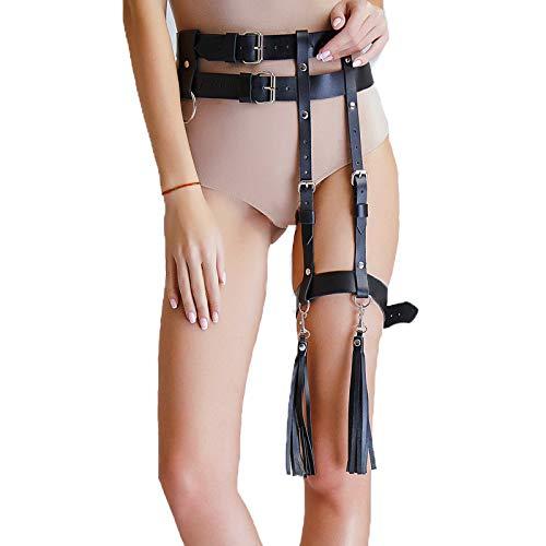 ZGCF Leder Leg Harness Oberschenkel Strumpfgürtel,Schwarz Sexy Leg Bondage Dessous Damen Kunstleder Unterwäsche Set Fetisch Punk Clubwear (Schwarze Leder-harness)