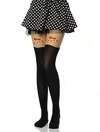 Demarkt® Mignon Leggings Collant/Bas Elastique avec Dessin Hello Kitty dans le Haut et Noir dans le Bas/ Taille Unique