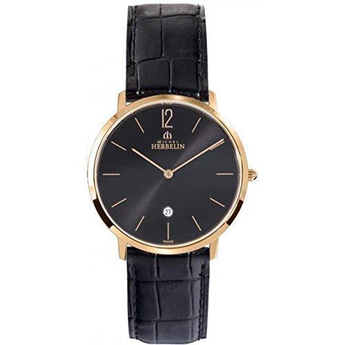 Michel Herbelin City Men's Black Leather Watch 19515/PR14