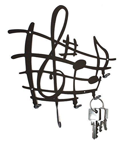 Schlüsselbrett ** Notenstyle ** Hakenleiste aus Stahl - Musik, Notenlinien, schwarz