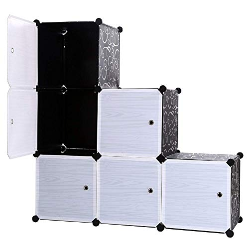 LIJIANGUO 3-Tier-Speicher Schrank Cube Bücherregal-Schrank-Schild 6-Würfel DIY-Schrank Mit Türen 14,56 ' ' Schwarz (Größe B)